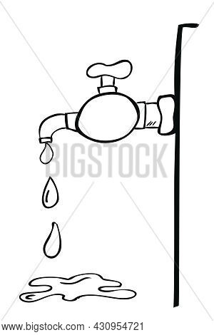 Outline Vector Hand Draw Sketch Water Tap At Wall, Spill And Splat Water, Isolated On White.