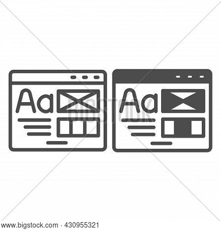 Window With Ready Made Layout Of The Site Line And Solid Icon, Web Design Concept, Website Vector Si