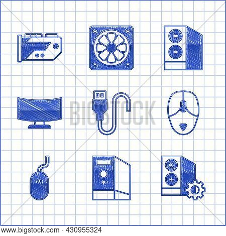 Set Usb Cable Cord, Case Of Computer, Computer Mouse, Monitor Screen, And Video Graphic Card Icon. V