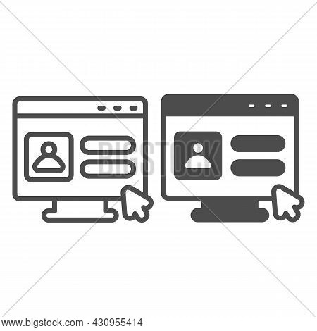 Monitor, User Authorization Window, Cursor Pointer Line And Solid Icon, Ui Concept, Avatar Vector Si