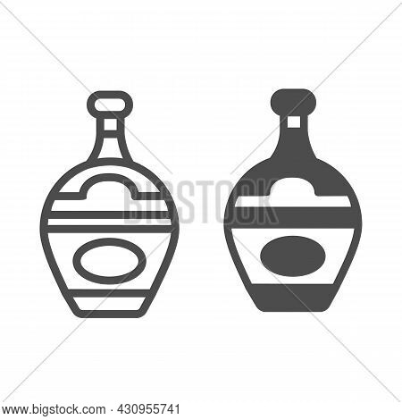 Bottle Of Gin, Liqueur, Brady, Cognac Line And Solid Icon, Bar Concept, Alcoholic Beverage Vector Si