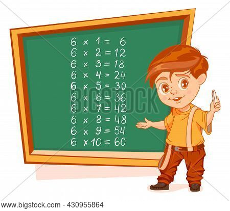 Multiplication By 6 Table Boy Schoolboy Stand By Blackboard With Chalk