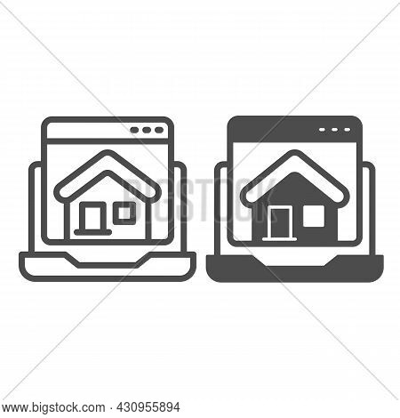 Laptop, Homepage, Computer Window, House, Website Line And Solid Icon, Ui Concept, Home Page Vector