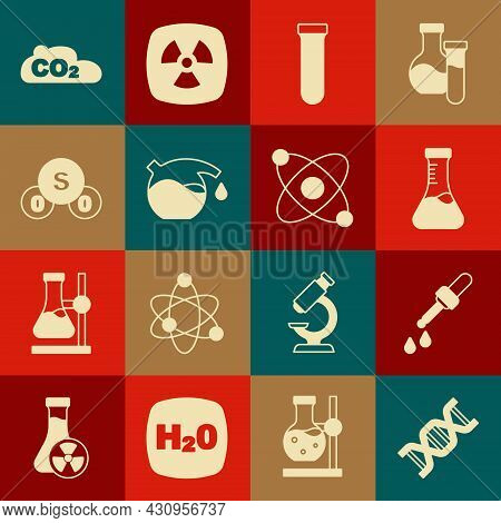 Set Dna Symbol, Pipette, Test Tube, Sulfur Dioxide So2, Co2 Emissions In Cloud And Atom Icon. Vector