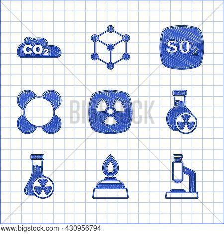 Set Radioactive, Alcohol Or Spirit Burner, Microscope, Test Tube With Toxic Liquid, Molecule, Sulfur