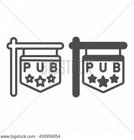 Pub Signboard With Stars, Sign, Signage Line And Solid Icon, Bars And Pubs Concept, Pub Emblem Vecto