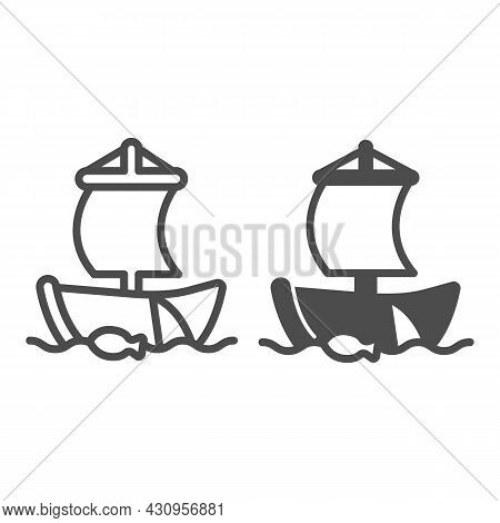 Old Sailboat In The Sea With Fishing Net Line And Solid Icon, Asian Culture Concept, Boat Vector Sig