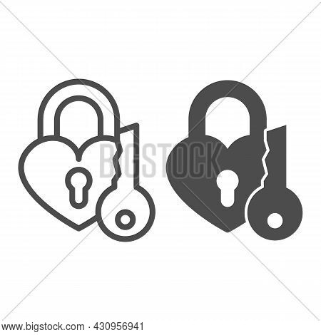 Heart Shaped Lock And Key, Padlock For Lovers Line And Solid Icon, Dating Concept, Love Lock Vector