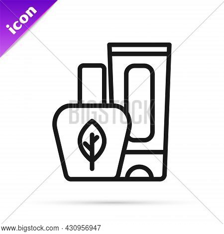 Black Line Ointment Cream Tube Medicine Icon Isolated On White Background. Tube, Container, Toothpas