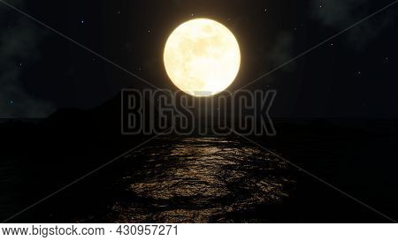The Full Moon Shone In The Middle Of The Sea And There Was A Reflection In The Sea. 3d Rendering