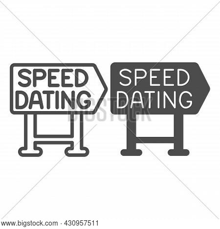 Speed Dating Signboard Pointer Emblem Line And Solid Icon, Dating Concept, Logo Vector Sign On White