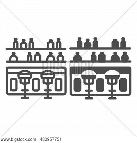 Bar Counter With Stools And Bottles Line And Solid Icon, Bars And Pubs Concept, Pub Interrior Vector