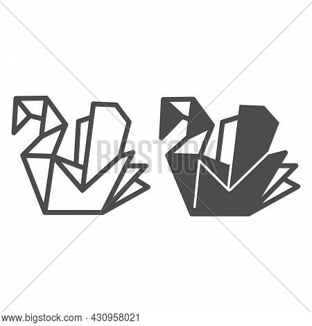 Paper Swan, Origami Line And Solid Icon, Asian Culture Concept, Folded Origami Bird Vector Sign On W
