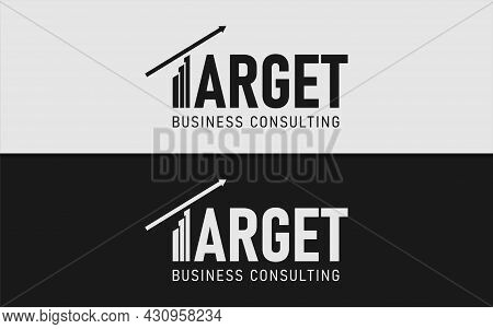 Abstract Business Logotype With Target Statistic And Arrow As The Letter T. Minimalist Logotype Logo