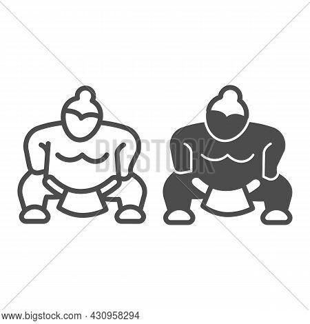 Sumo Fighter, Strong Fat Wrestler Line And Solid Icon, Asian Culture Concept, Japanese Sport Vector