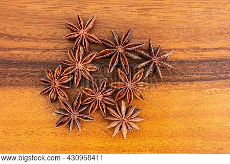 Anise Stars On Wooden, Top View.