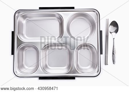 Empty Stainless Steel Food Trays 5 Sections With The Black Bottom Box And Spoon, Fork On With White