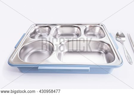 Empty Stainless Steel Food Trays 5 Sections With The Blue Bottom Box And Spoon, Fork On With White B