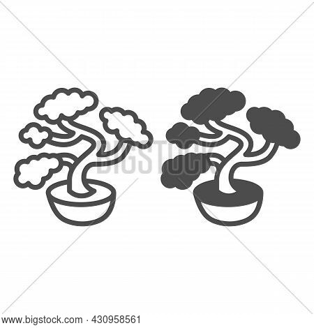 Bonsai Tree, Potted Plant Line And Solid Icon, Asian Culture Concept, Japanese Miniature Tree Vector