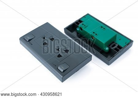 Components Inside Bottom And Top Of A Black Electrical Connector Plugs Isolated On White Background.