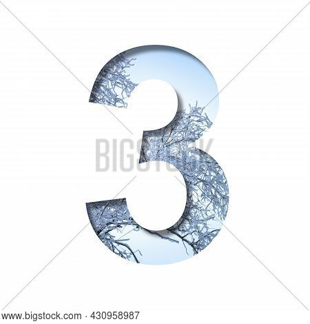 Winter Digits. Digit Three, 3 Cut Out Of Paper On The Background Of The Winter Sky And Snow-covered