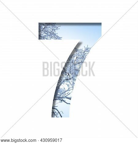 Winter Digits. Digit Seven, 7 Cut Out Of Paper On The Background Of The Winter Sky And Snow-covered