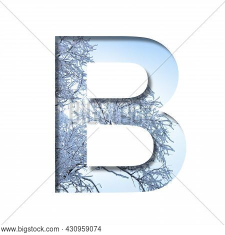 Winter Letters. The Letter B Cut Out Of Paper On The Background Of The Winter Sky And Snow-covered T