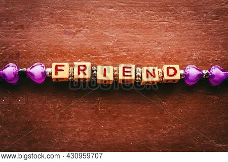 Friendship Band With Word Friend Featuring Each Alphabet With In A Cube Format. Band For Friendship