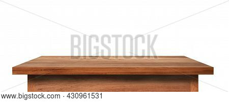 Side View Of Wooden Table Top Isolated On White Background. (clipping Path)