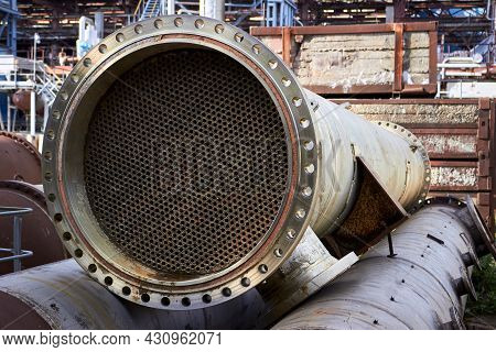 Industrial Heat Exchanger Or Boiler Tubes Bundle. Dismantled Heat Exchanger Shell And Tubes With Dep