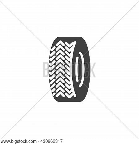 Wheel Tyre Vector Icon. Filled Flat Sign For Mobile Concept And Web Design. Car Tyre Glyph Icon. Sym