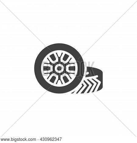 Car Wheel Vector Icon. Filled Flat Sign For Mobile Concept And Web Design. Wheel Tyre Glyph Icon. Sy