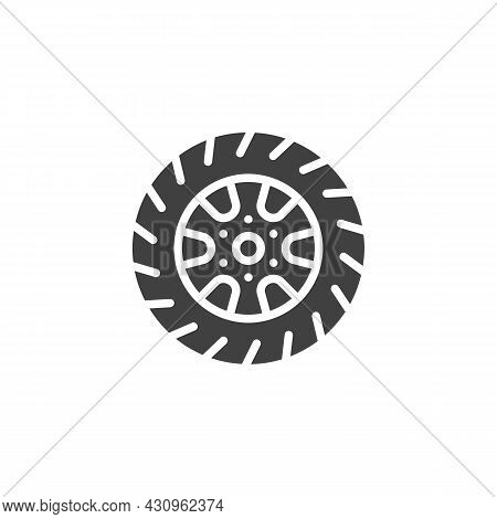 Car Wheel Vector Icon. Filled Flat Sign For Mobile Concept And Web Design. Wheel Tyre Disc Glyph Ico