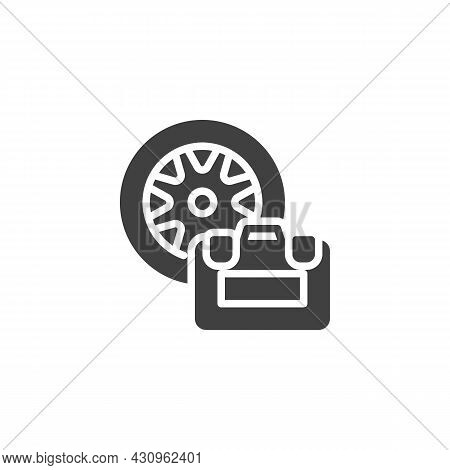Wheel Repair Kit Vector Icon. Filled Flat Sign For Mobile Concept And Web Design. Tyre Repair Box Gl