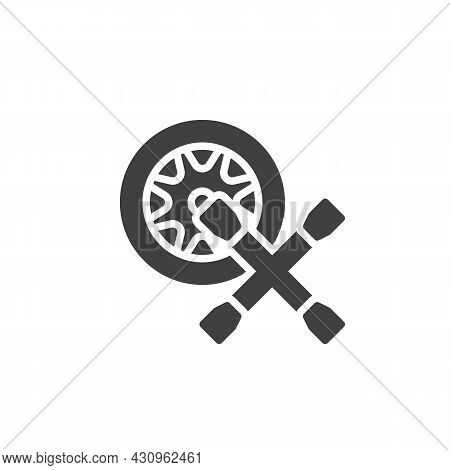 Tyre Repair Service Vector Icon. Filled Flat Sign For Mobile Concept And Web Design. Car Wheel And L