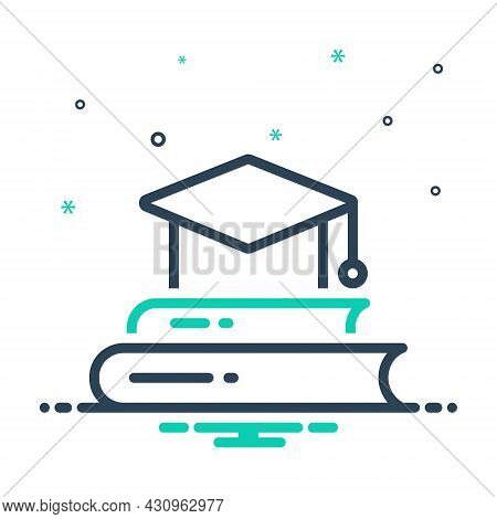 Mix Icon For Graduate Book Cap Knowledge Intellectuality Diploma Get-one's-diploma