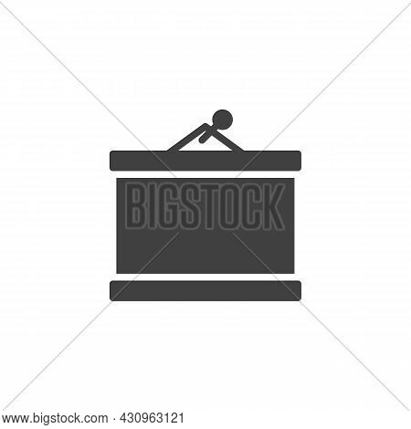Blank Projector Screen Vector Icon. Filled Flat Sign For Mobile Concept And Web Design. Projection S