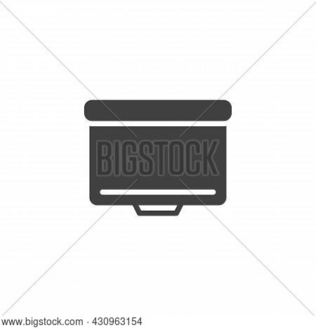 Blank Presentation Screen Vector Icon. Filled Flat Sign For Mobile Concept And Web Design. Projector