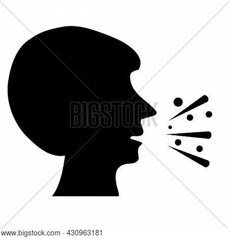 Cough Icon On A Isolated Background. Phlegm In Throat Sign. Sneezing Symbol. Flat Style.