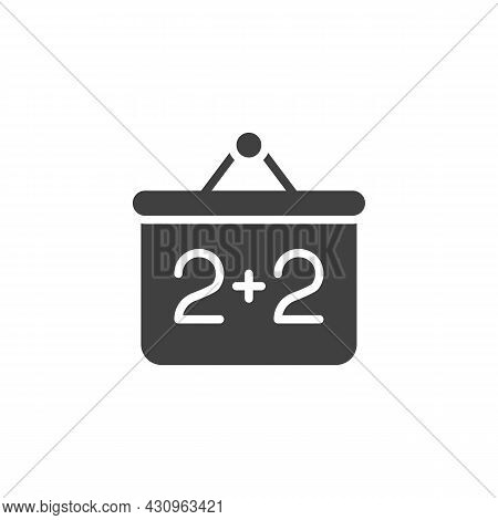 Mathematics Presentation Screen Vector Icon. Filled Flat Sign For Mobile Concept And Web Design. Two