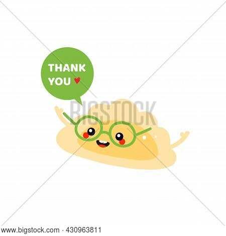 Cute Happy Cartoon Style Pierogi, Filled Dumpling Character In Glasses With Speech Bubble Saying Tha