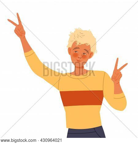 Young Blond Man With Curly Hair Posing For Selfie Smiling For The Camera And Showing V Sign Vector I