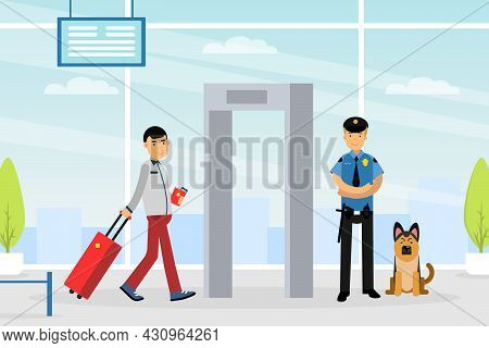 Man Tourist Character With Suitcase Walking Through Metal Detection Equipment At Airport Vector Illu