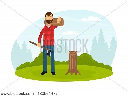 Bearded Man Lumberjack In Red Checkered Shirt Carrying Lumber And Wood Chopper Vector Illustration