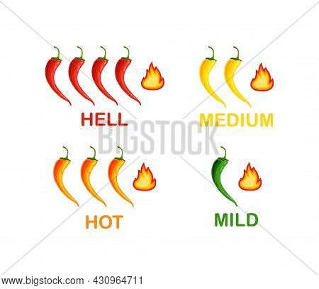 Level Peppers Of From Mild To Extra Hot .hot Chili Peppers Set. Hot Chili Peppers Set. Icon. Vector