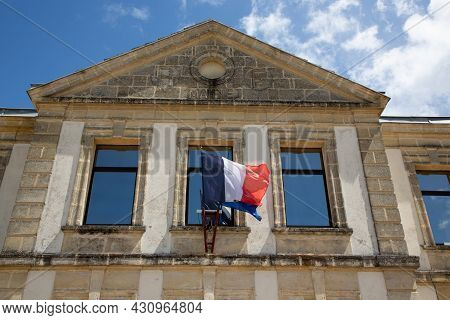 French Tricolor And Europa Flag On France Facade Mairie Text Building Means City Hall In Town Center
