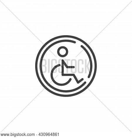 Disabled Person Parking Line Icon. Linear Style Sign For Mobile Concept And Web Design. Disabled Par
