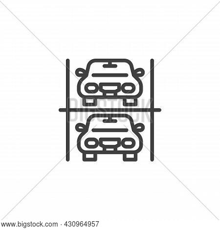 Two-storey Parking Line Icon. Linear Style Sign For Mobile Concept And Web Design. Double Deck Car P