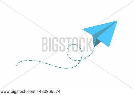Airplane Route In The Dotted Line Shape. Travel Concept, Paper Airplane Path.