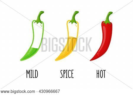 Chili Pepper Level Labels. Vector Food Mild And Extra Hot Sauce, Chili Pepper Red Outline Icons